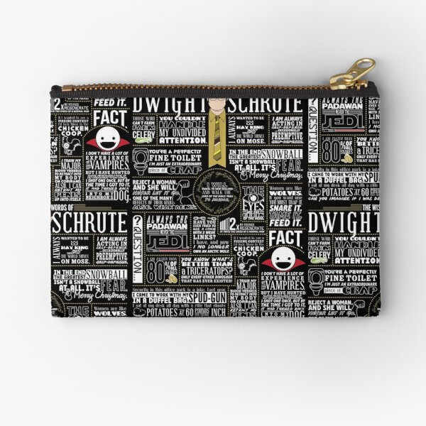 The Wise Words of Dwight Schrute (Dark Tee) Zipper Pouch