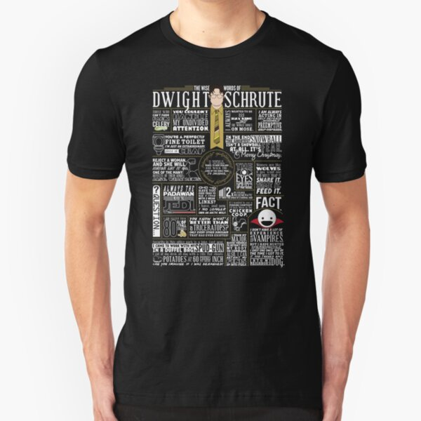 The Wise Words of Dwight Schrute (Dark Tee) Slim Fit T-Shirt