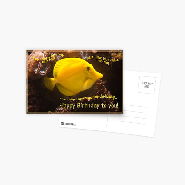 Happy Yellow fish - blup-blup birthday card Postcard