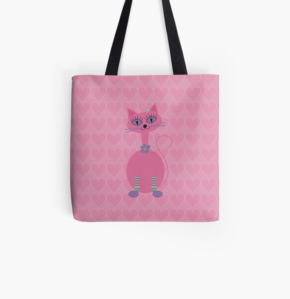 Pink cat with love hearts. All Over Print Tote Bag