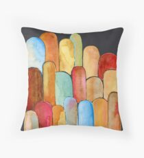Gorgeous Red Blue Gold Brown Orange Watercolor Design Floor Pillow