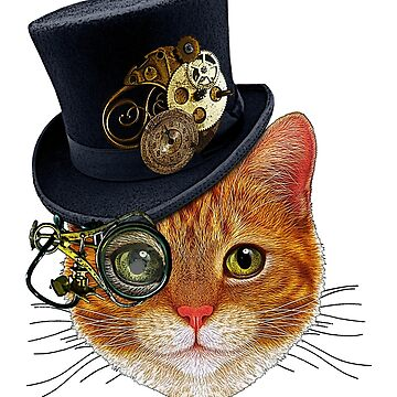 Orange Cat with Steampunk Hat and Monocle by SirLeeTees