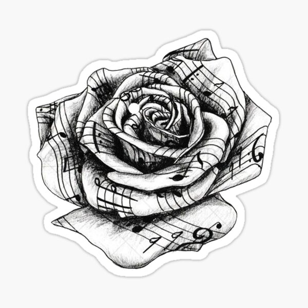 Rose music notes Sticker
