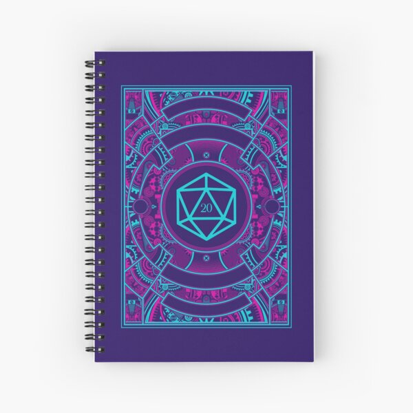 Futuristic Neon Noir Tabletop RPG D20 Dice Spiral Notebook