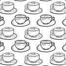 Black and White Coffee Cups - Kawaii Doodle Pattern by TimorousEclectc