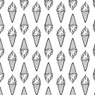 Black and White Ice Cream Cones- Kawaii Doodle Pattern by TimorousEclectc