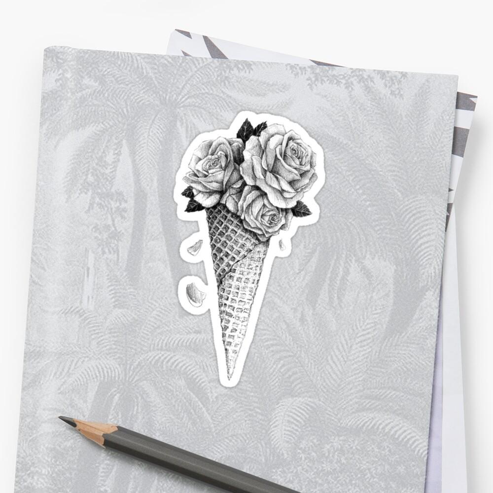 Ice Cream Roses Sticker