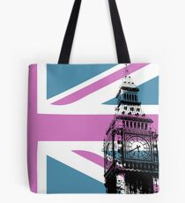 Union Jack and Big Ben, London, UK, Pink and Purple Tote Bag