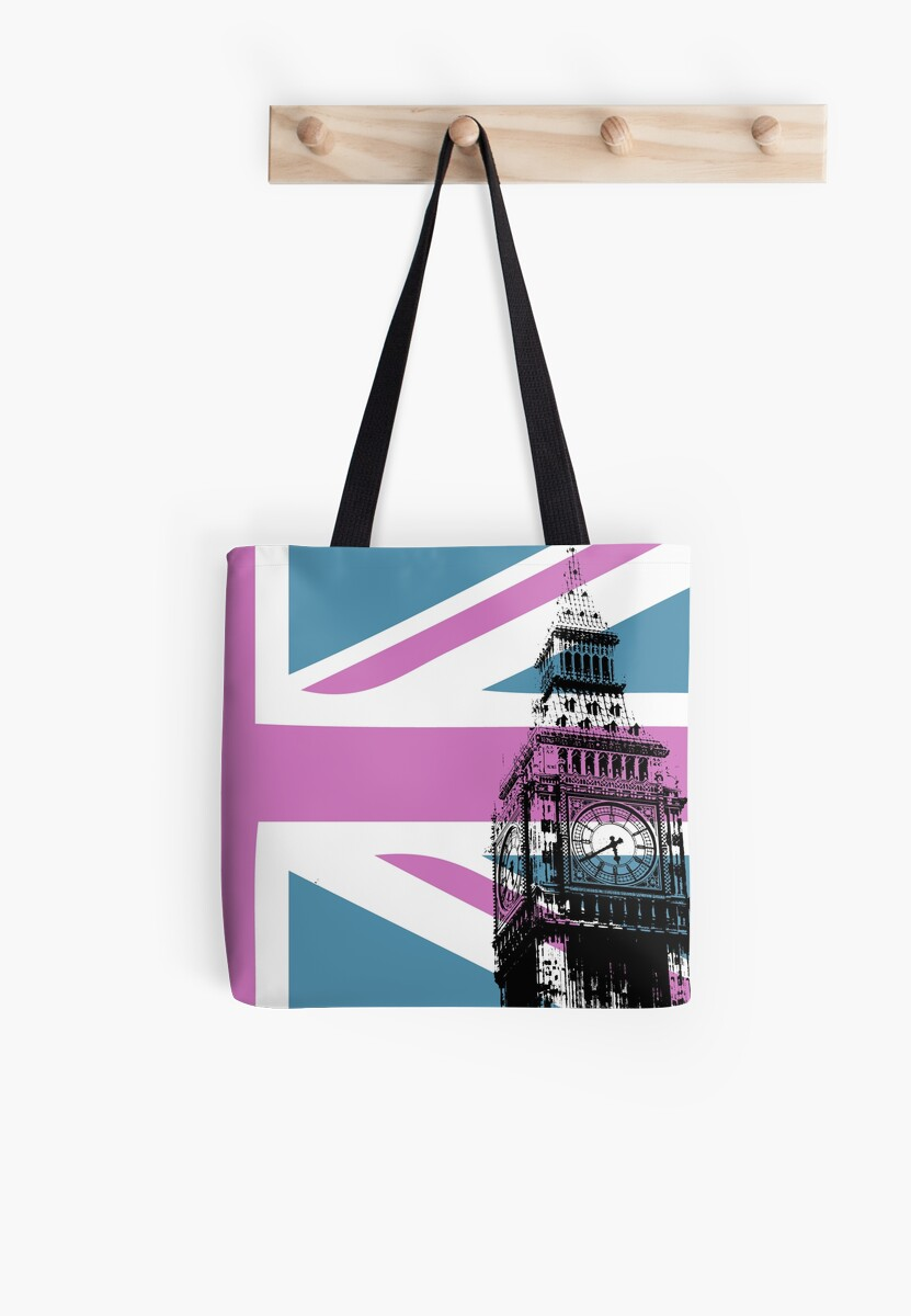 Union Jack and Big Ben, London, UK, Pink and Purple by CorrieJacobs