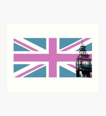 Union Jack and Big Ben, London, UK, Pink and Purple Art Print
