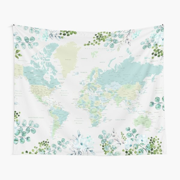 Greenery mint and blue detailed world map with cities Tapestry