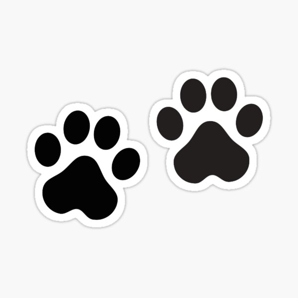 Black Paw Prints Sticker