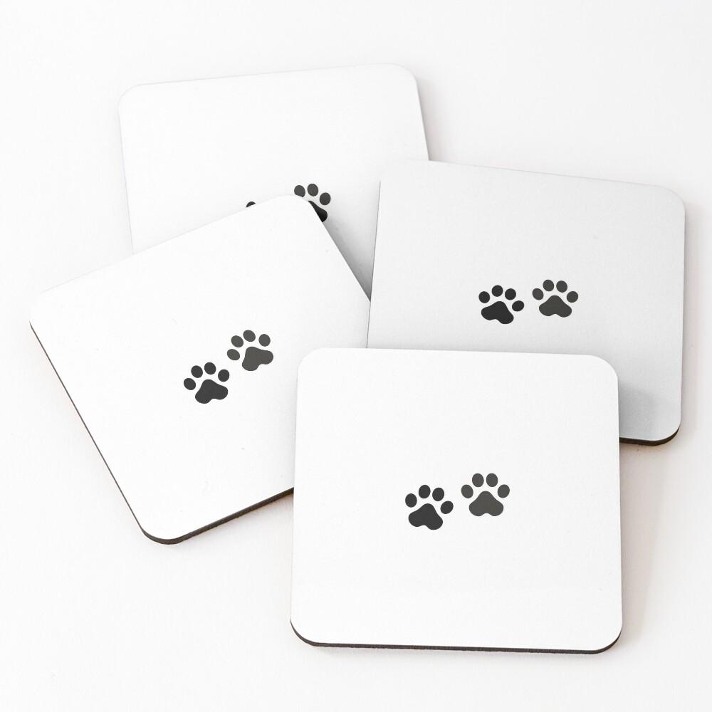 Black Paw Prints Coasters (Set of 4)