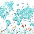 Aquarellweltkarte mit Meerjungfrauen in Aquamarinblau von blursbyai