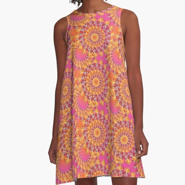 Floribunda II Lanikai in Hot Pink & Mango A-Line Dress