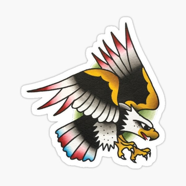 Traditional American Eagle Tattoo Design Sticker