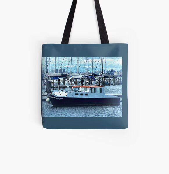 Red Roof - Cabin Cruiser moored at Williamstown, Vic. All Over Print Tote Bag