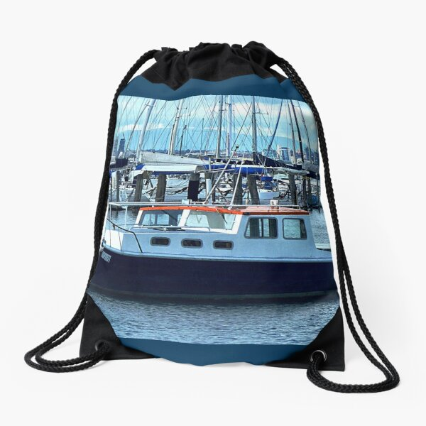 Red Roof - Cabin Cruiser moored at Williamstown, Vic. Drawstring Bag