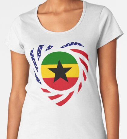 Ghanaian American Multinational Patriot Flag Series Premium Scoop T-Shirt