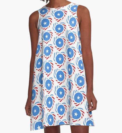 Somalian American Multinational Patriot Flag Series A-Line Dress