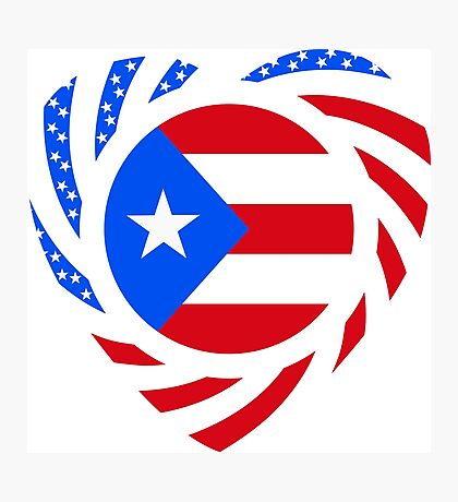 Puerto Rican American Multinational Patriot Flag Series 2.0 Photographic Print