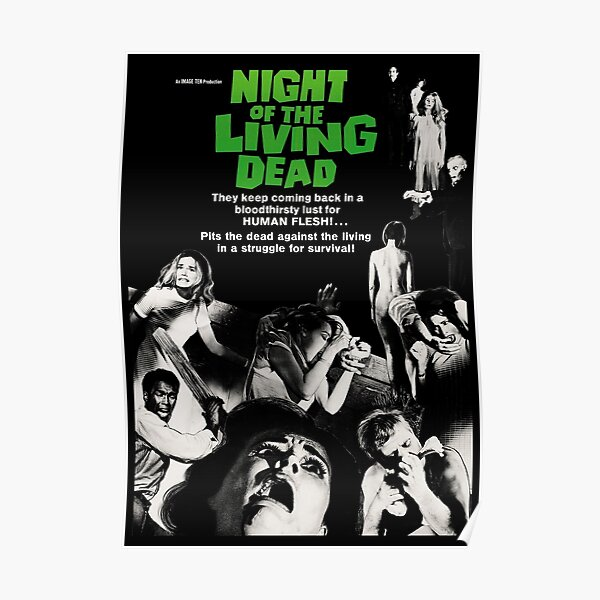 Night Of The Living Dead 1968, Vintage Movie Poster, Retro Halloween Zombie Idea Poster
