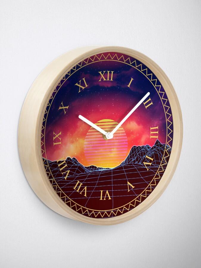 Alternate view of Vaporwave landscape with rocks Clock