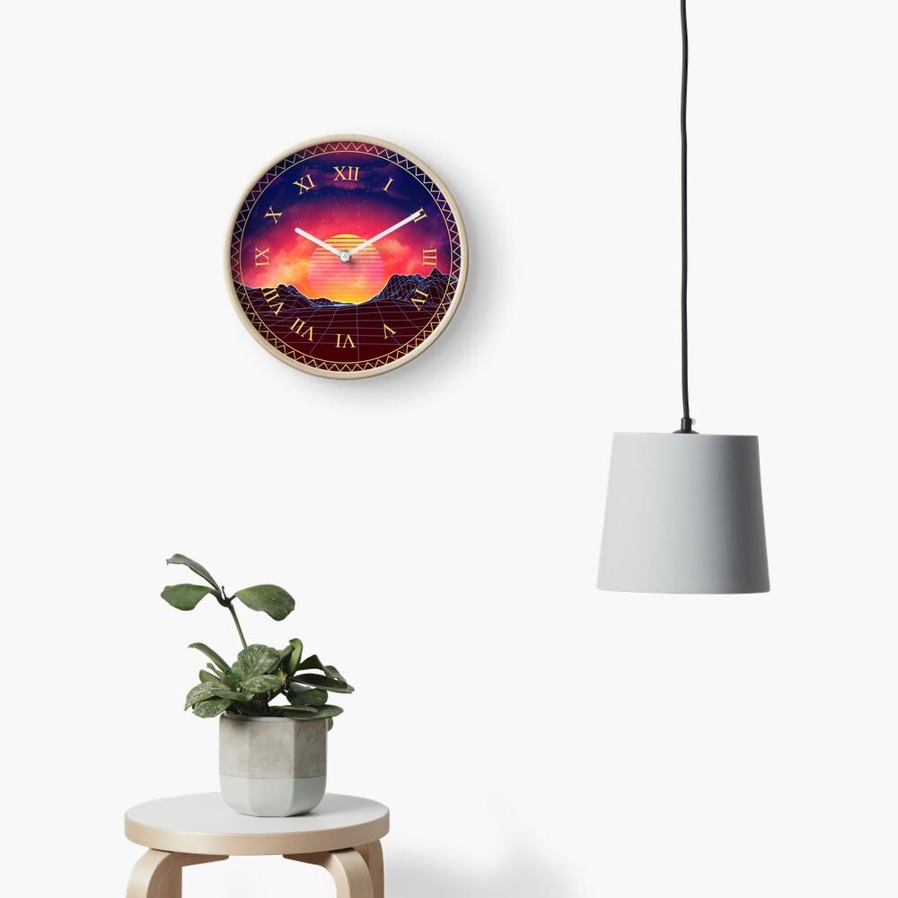 Vaporwave landscape with rocks Clock