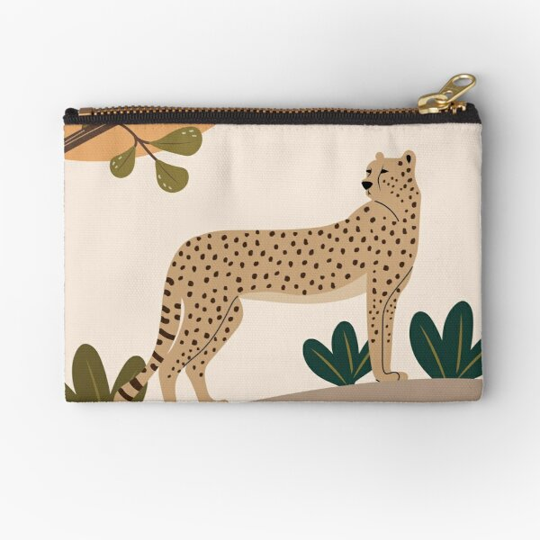 Cheetah on the rocks under the tree Zipper Pouch