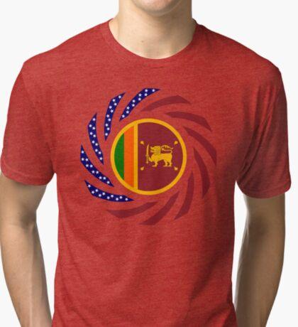 Sri Lankan American Multinational Patriot Flag Series Tri-blend T-Shirt