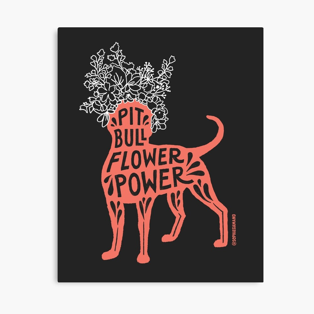 Pit Bull Flower Power (coral, white crown) Canvas Print