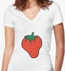 Superfruit Strawberry Merch Women's Fitted V-Neck T-Shirt