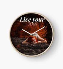 Live your dreams t-shirt Clock