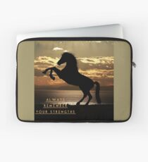 "Horse Shirt, Neighs in the Sunset, ""Always remember your strengths"" Laptop Sleeve"