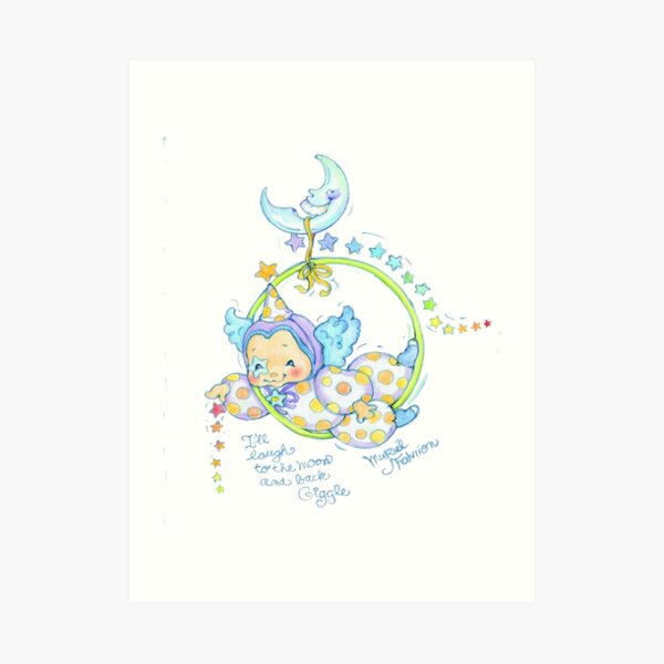 Giggle the Guardian Angel of Laughter To the Moon Art Print