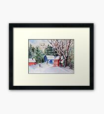 Snowshoeing in Strawberry Banke Framed Print