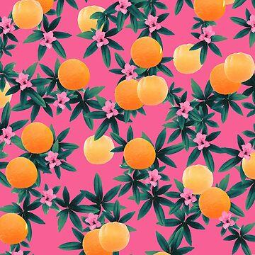 Orange Twist Flower Vibes #1 #tropical #fruit #decor #art by anitabellajantz