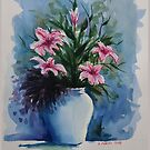Flower vase in watercolor by DanielaFurini