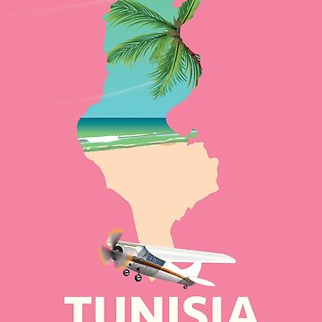 Tunisia map travel poster by vectorwebstore