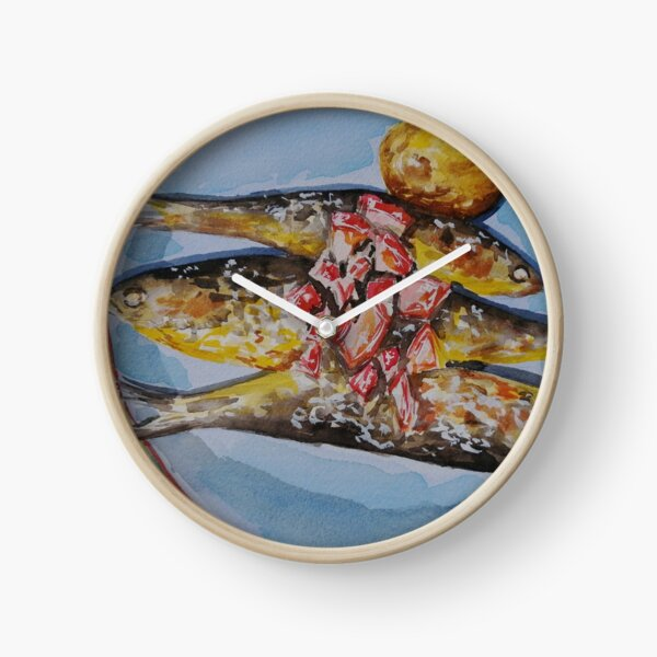 Grilled sardines in watercolor - food illustration Clock