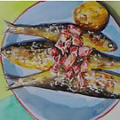 Grilled sardines in watercolor - food illustration by DanielaFurini