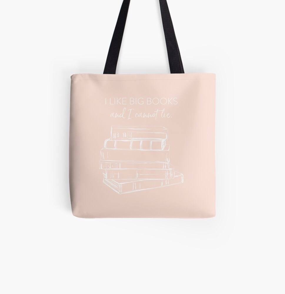 I Like Big Books (white) All Over Print Tote Bag