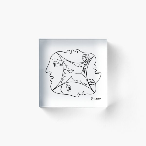 Pablo Picasso Peace Between People & Dove T Shirt, Artwork Acrylic Block