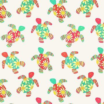 Nette Blumen-Kinderhippie-Schildkröten auf Sahne von micklyn