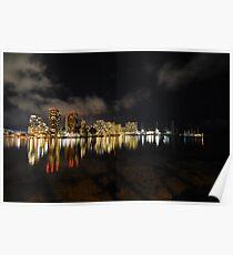 City Lights Reflection - Waikiki Hotels and Marina Poster