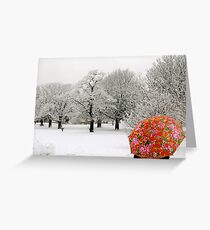 The lady with the red umbrella Greeting Card
