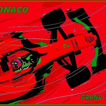 MONACO; Psychedelischer Weinlese-Grand-Prix-Rennsport-Druck von posterbobs