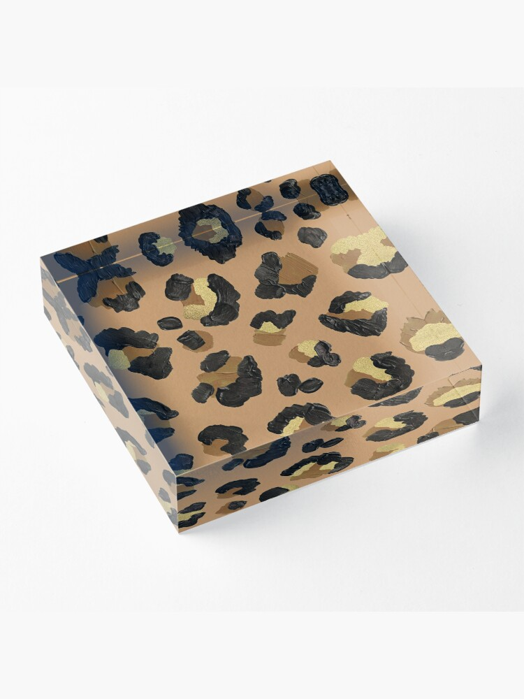Alternate view of Leopard Print – Neutral & Gold Palette Acrylic Block