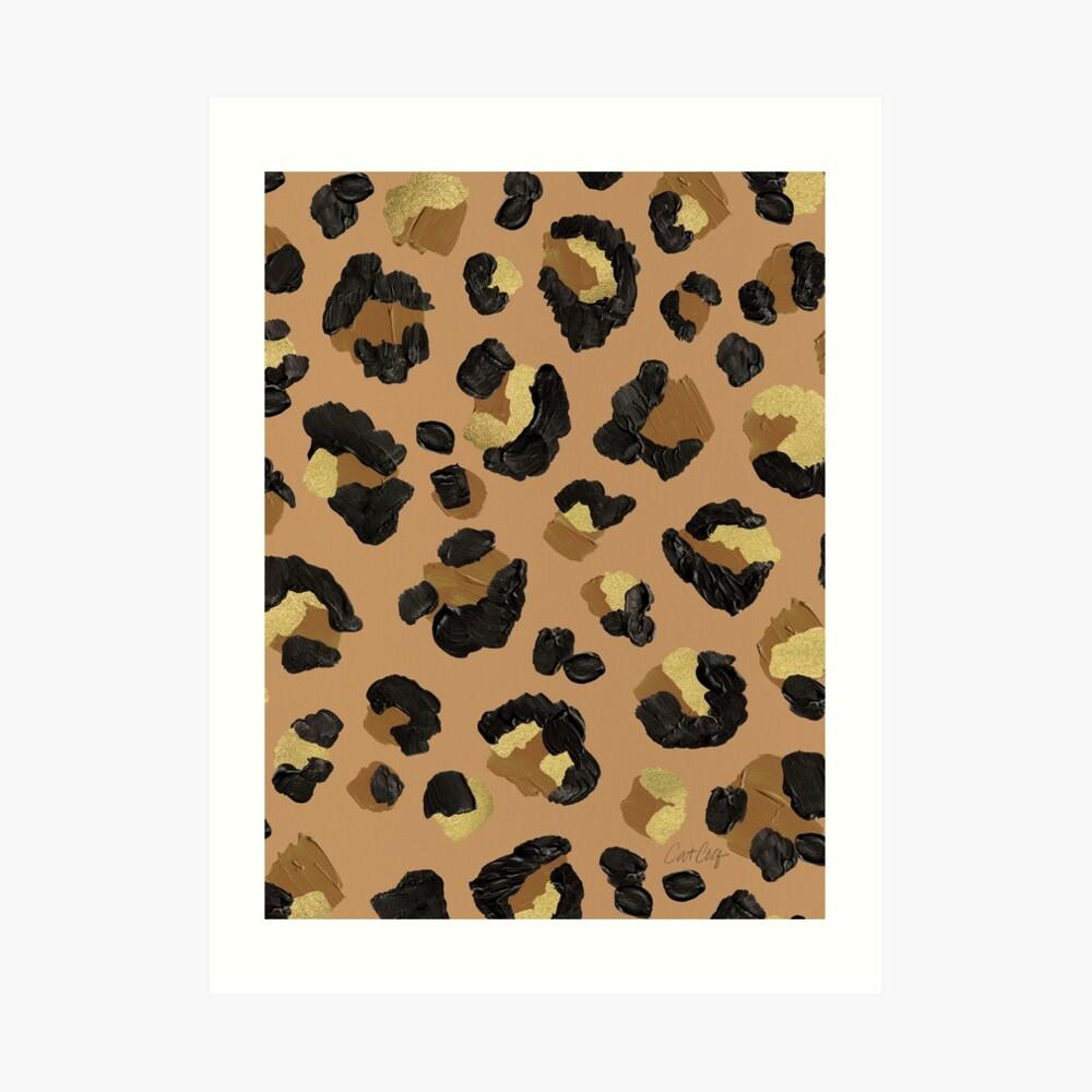 Leopard Print – Neutral & Gold Palette Art Print