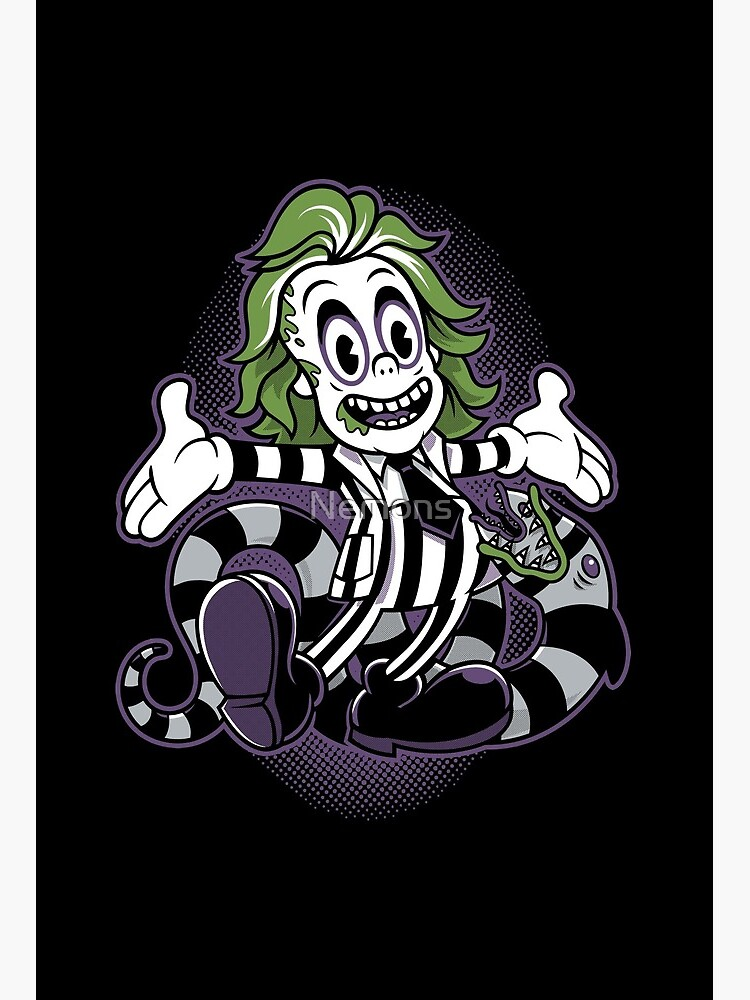 It S Showtime Beetlejuice Vintage Cartoon Goth Art Board Print By Nemons Redbubble